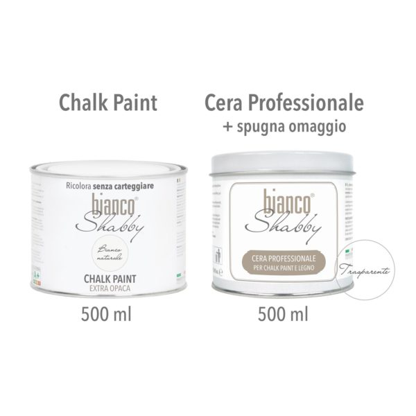 Chalk Paint Bianco Naturale Cera Shabby Chic